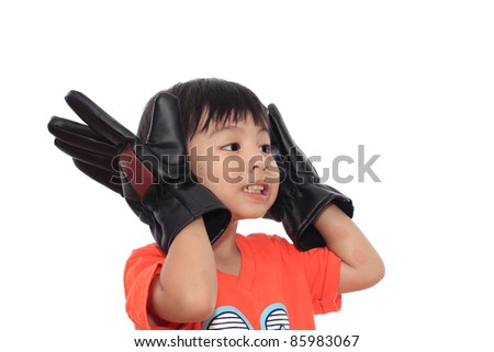 Happy asian boy with Gloves isolated on white background - stock photo