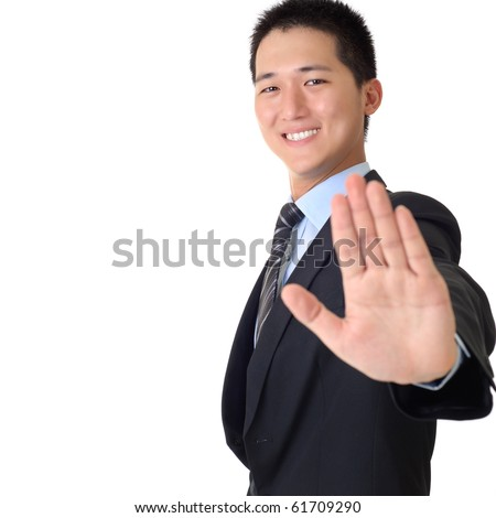 Happy Asian business man with reject gesture and smiling expression, closeup portrait with copyspace on white. - stock photo