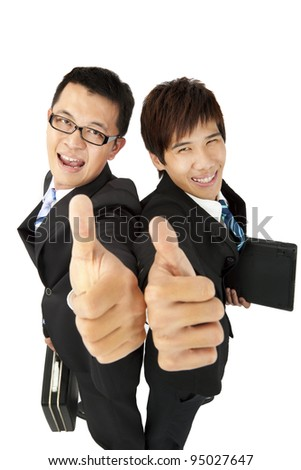 happy  asian   businessman with thumbs up - stock photo