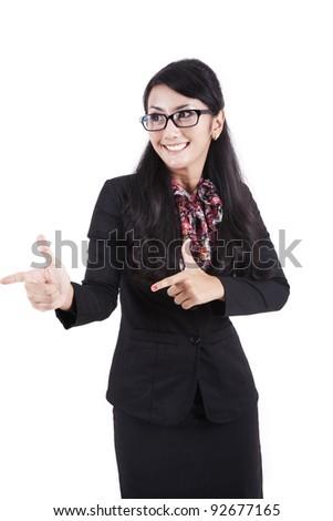 Happy asian businesswoman hands gesture - stock photo