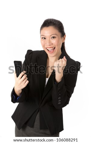 Happy Asian businesswoman using her smart phone. Isolated on white. - stock photo