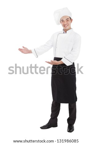 happy asian chief with welcome gesture - stock photo