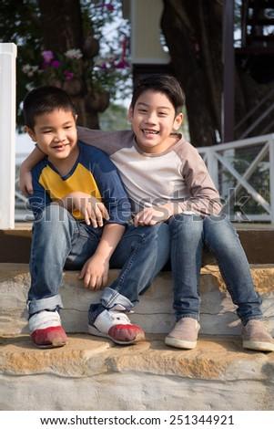 happy asian child joyful in the park - stock photo