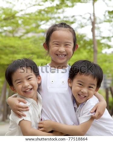 happy asian children - stock photo