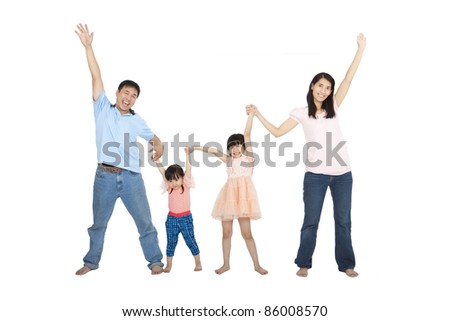 happy asian Family isolated on white background - stock photo