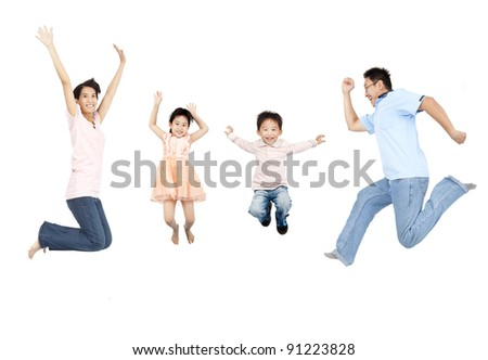 happy asian family jumping together - stock photo