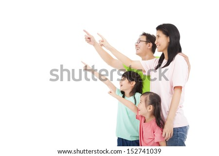 Happy asian family looking and pointing  - stock photo