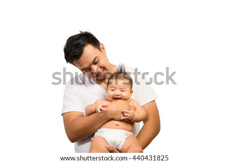 Happy Asian father and smile son isolated on white background. - stock photo