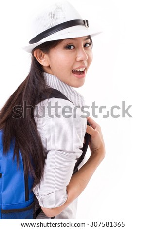 happy asian female traveler isolated - stock photo