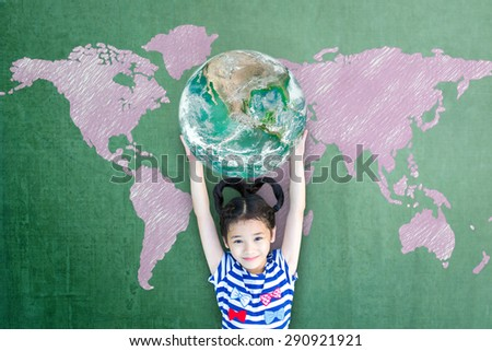 Happy Asian girl kid child raising hands holding green globe go green bio chalkboard with pink hand drawn map background: World literacy concept CSR: Elements of this image furnished by NASA