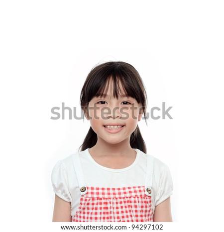 Happy asian girl portrait on white background - stock photo