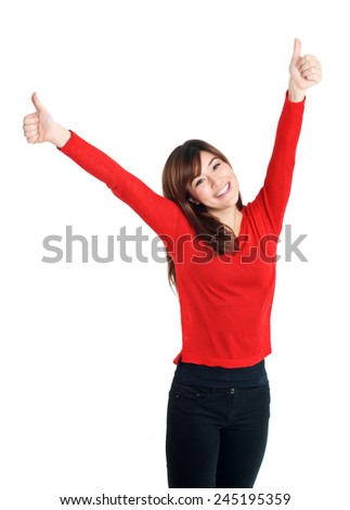 Happy Asian Girl two hands thumbs up in red on white background - stock photo