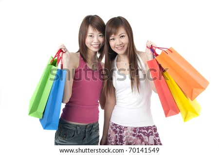 happy asian girls shopping - stock photo