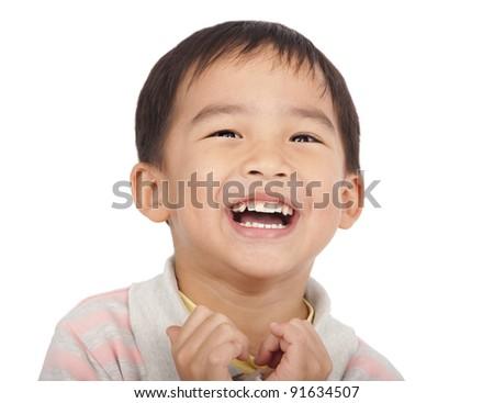 happy asian kid - stock photo