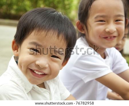 Happy asian kids - stock photo