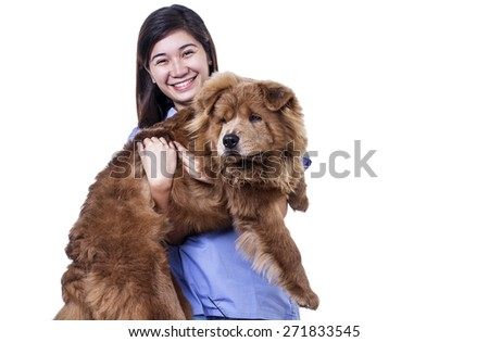 Happy asian lady carrying a dog. Isolated in white background.