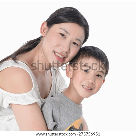 Happy asian Mother Holding Son