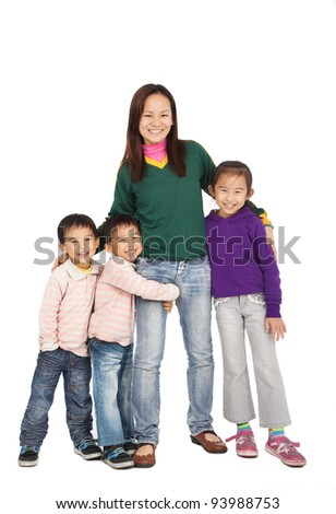Happy Asian Mother with her family - stock photo