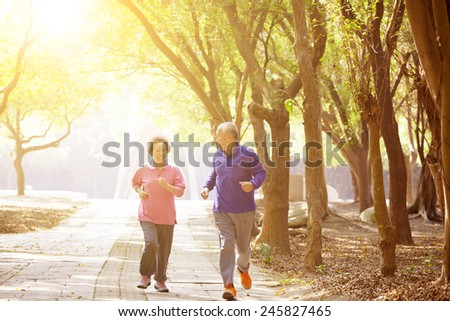 happy asian Senior Couple Exercising In the Park - stock photo