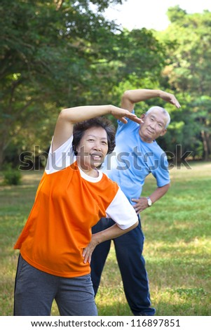 Happy asian senior fitness couple in the park - stock photo