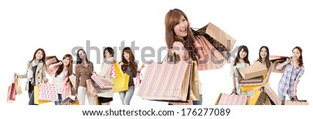 Happy Asian shopping girls on white background. - stock photo