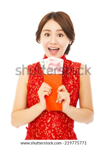 happy asian woman holding a red envelope with money.happy chinese new year - stock photo