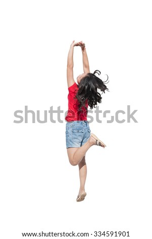 Happy asian woman jumping on white background.