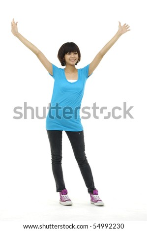 Happy asian  woman stretching up hands - stock photo