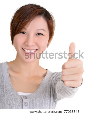 Happy Asian young woman give you an excellent gesture with friendly smiling face, half length closeup portrait on white background. - stock photo