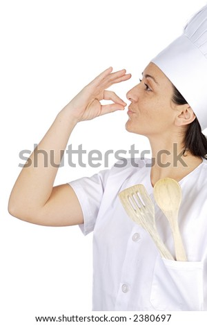 happy attractive cook woman becoming lean the fingers a over white background