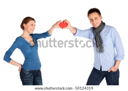Happy attractive young couple in love, isolated over white background. - stock photo