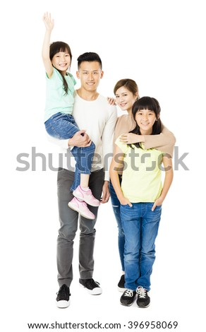 Happy Attractive Young  Family standing together