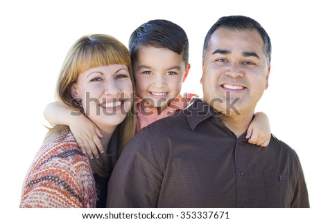 Happy Attractive Young Mixed Race Family Isolated on White. - stock photo