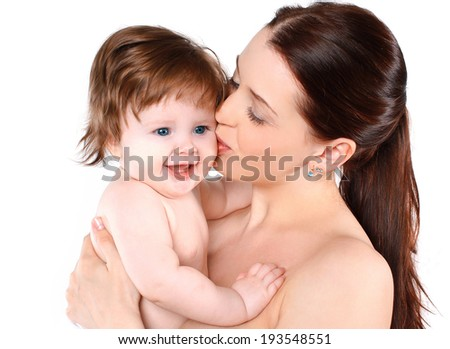Happy baby and tender mom, kiss