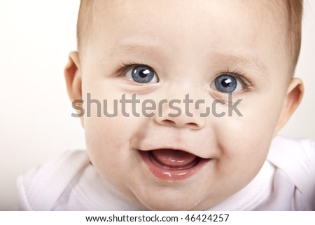 happy baby blue eyes - stock photo