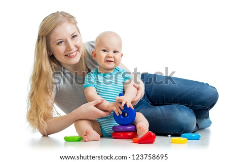 happy baby boy and mother playing together - stock photo