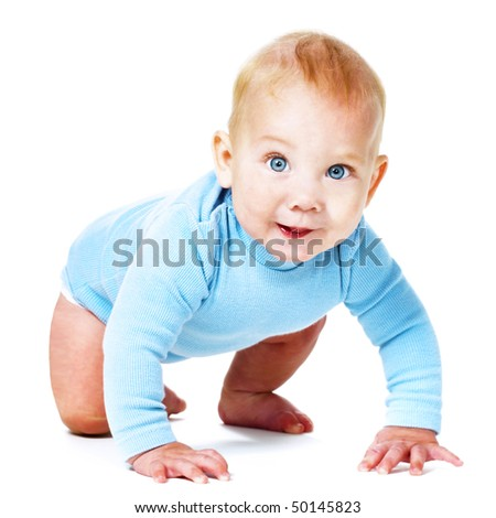 happy baby boy crawling over white - stock photo