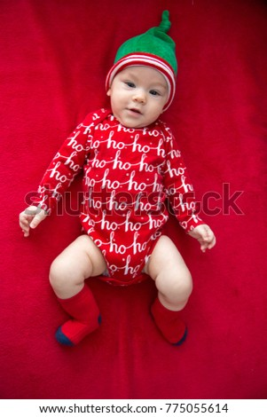 Happy baby boy in a Christmas costume. (6-month-old)  sc 1 st  Shutterstock & Happy Baby Boy Christmas Costume 6 Monthold Stock Photo (Safe to Use ...
