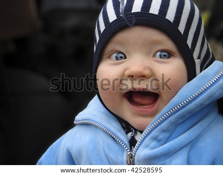 Happy baby boy ( 7 months old ) - stock photo