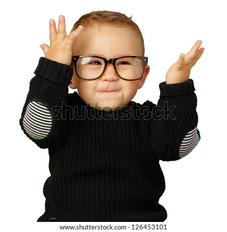 Happy Baby Boy Wearing Eye Glasses Isolated On White Background - stock photo