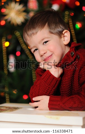 Happy baby. Christmas decorations. A boy in a red sweater.
