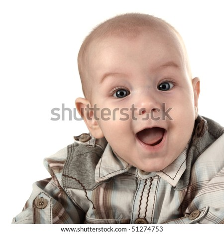 happy baby face close up - stock photo