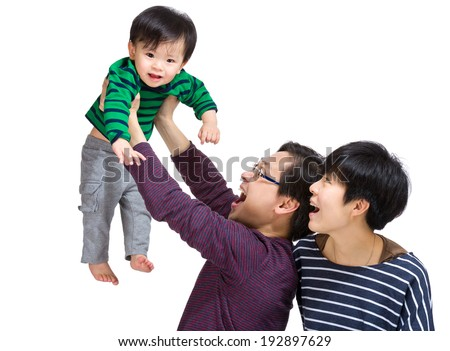Happy baby flying high up  - stock photo