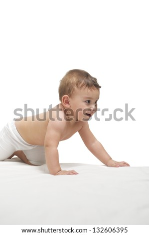 Happy baby gambling, bright background