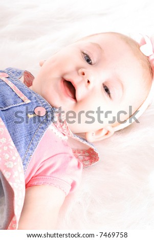 happy baby girl headshot - stock photo