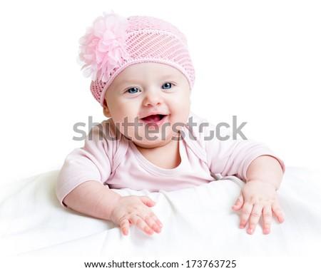 happy baby girl lying on tummy - stock photo