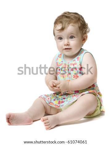 Happy baby girl over white background - stock photo