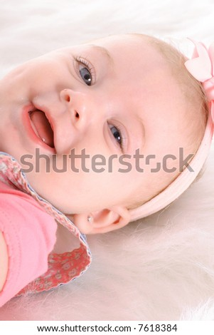 happy baby headshot vertical - stock photo