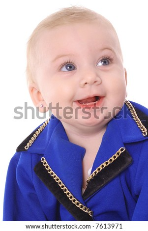 happy baby in business suit - stock photo