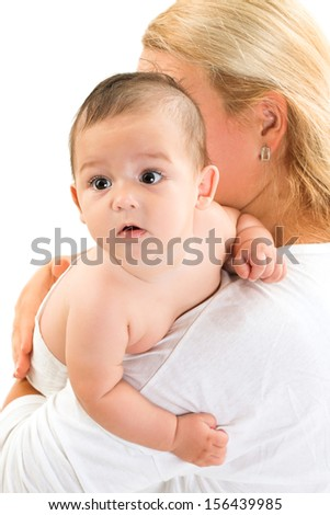 happy baby in mother arm